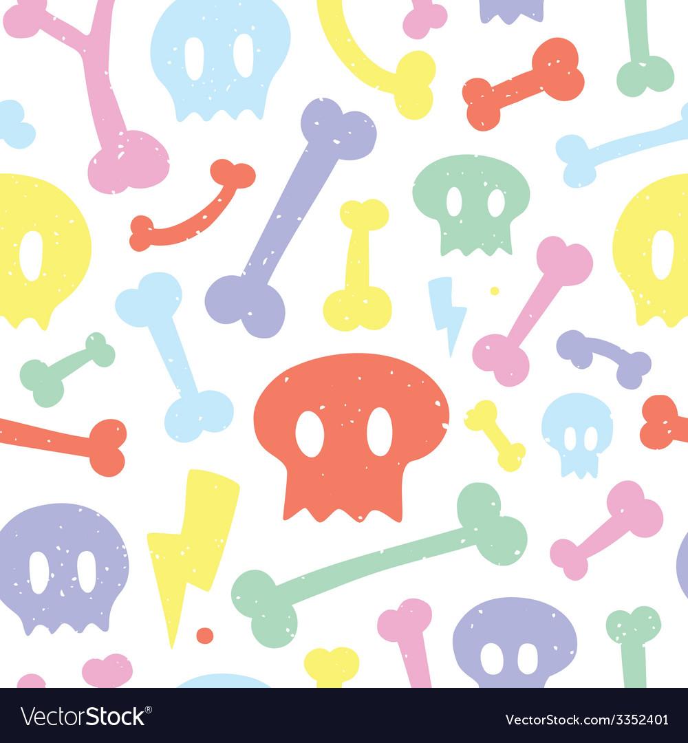 Skulls and bones white pattern