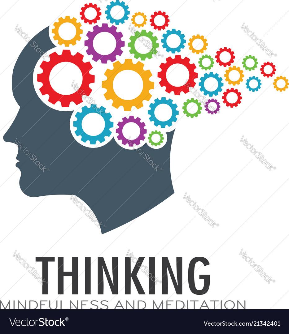 Thinking brain imagination logo