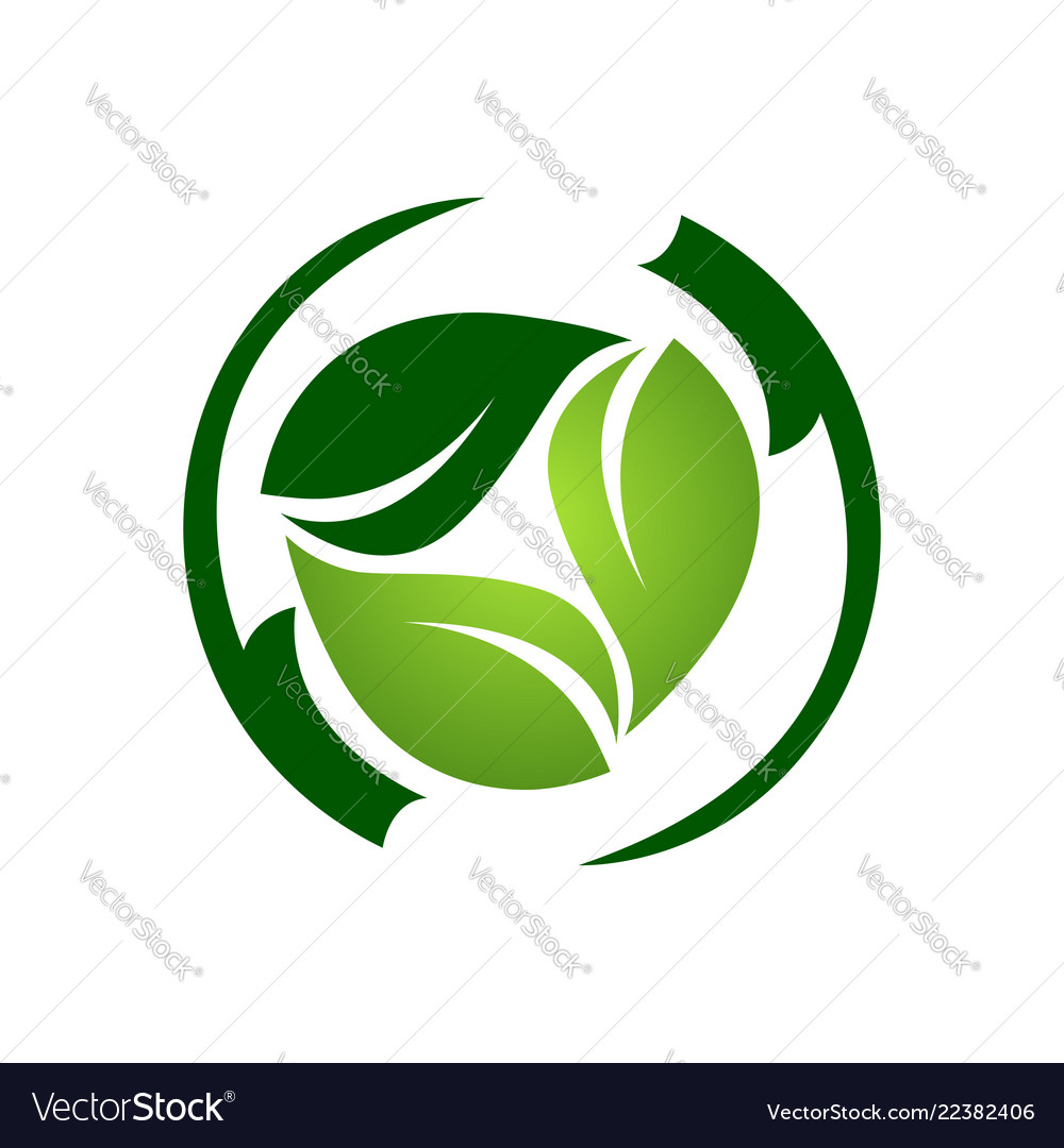 Abstract circle green light dark leaf logo