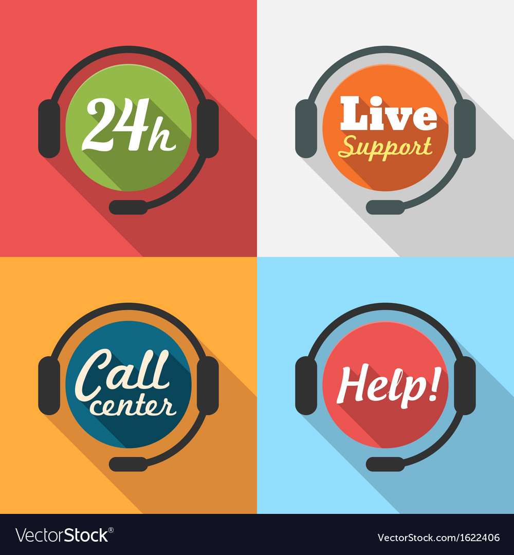 Call Center Customer Service Support Flat Icon set
