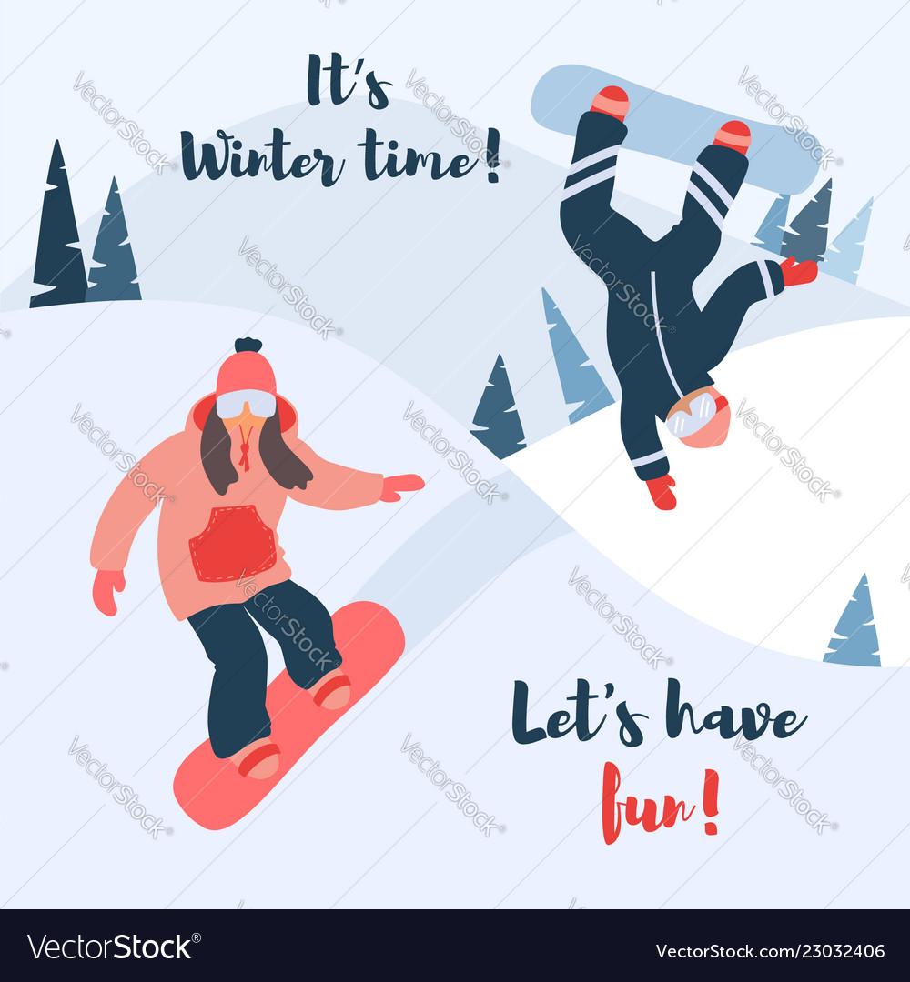 Cartoon of snowboard couple of