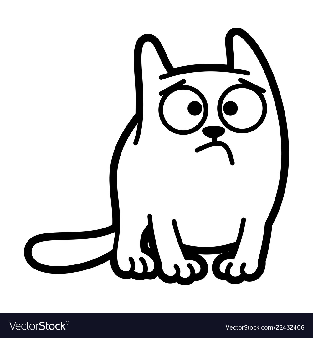 Cat cartoon character coloring page black and