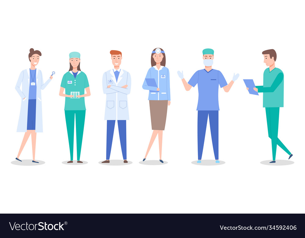 Collective doctors and nurses characters set