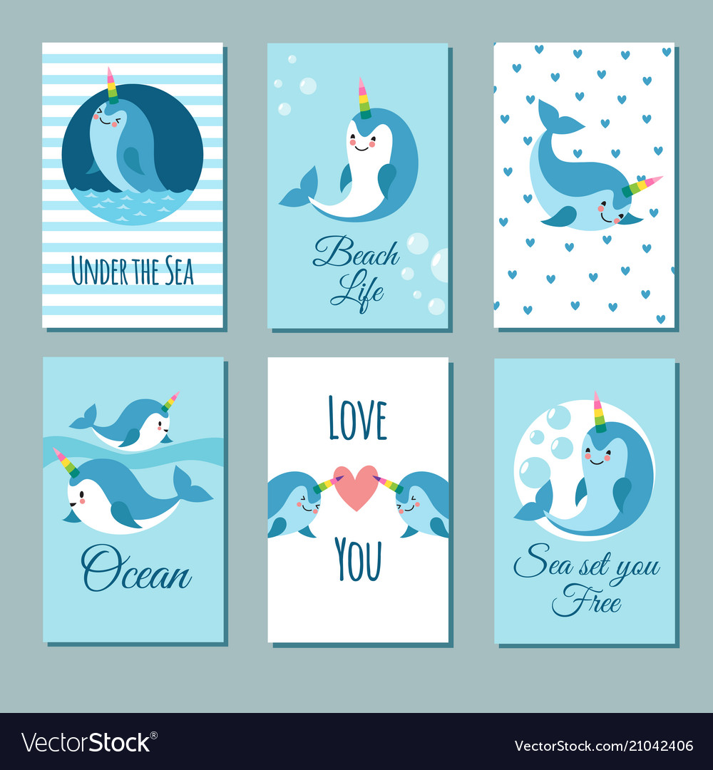 Cute cartoon anime narwhal romance cards posters