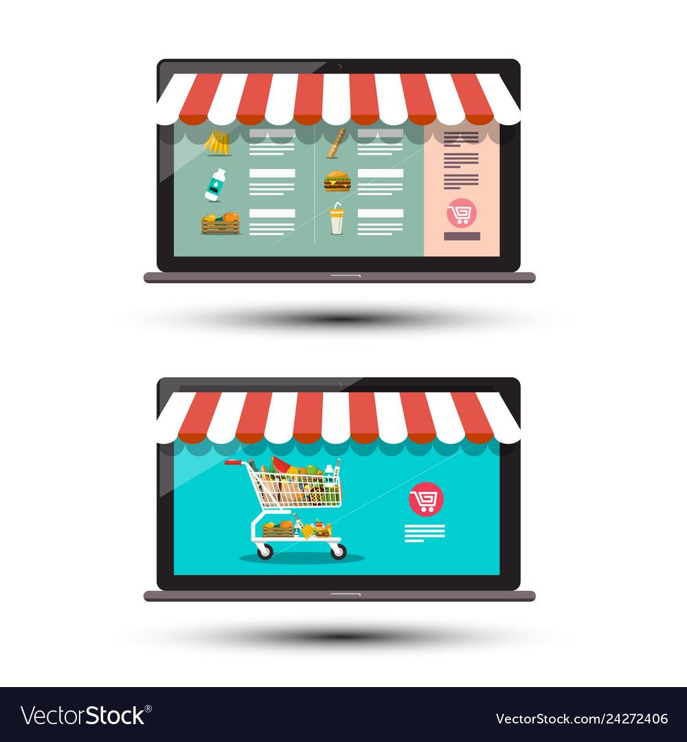 Food online store concpt e shop icons e-commerce