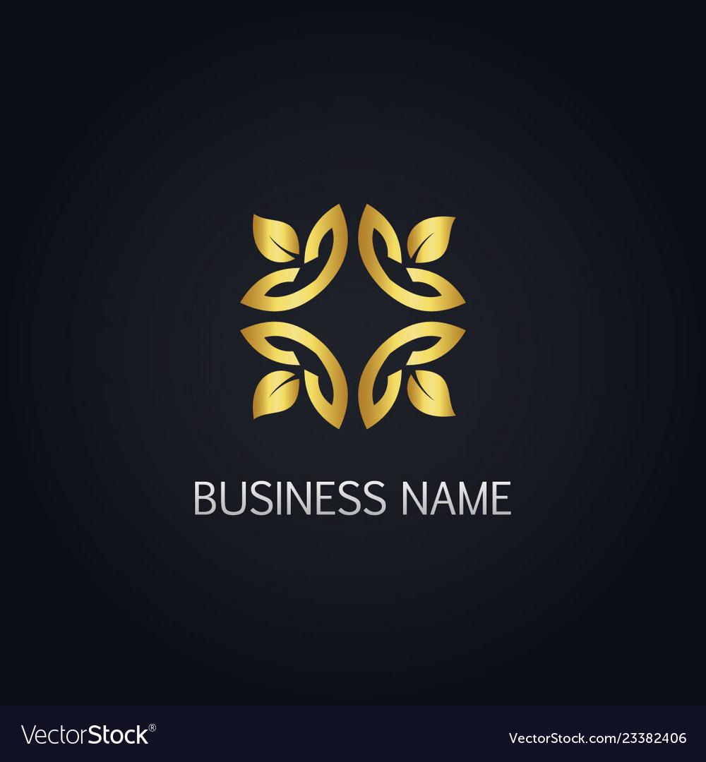 gold leaf ornament logo royalty free vector image gold leaf ornament logo royalty free vector image
