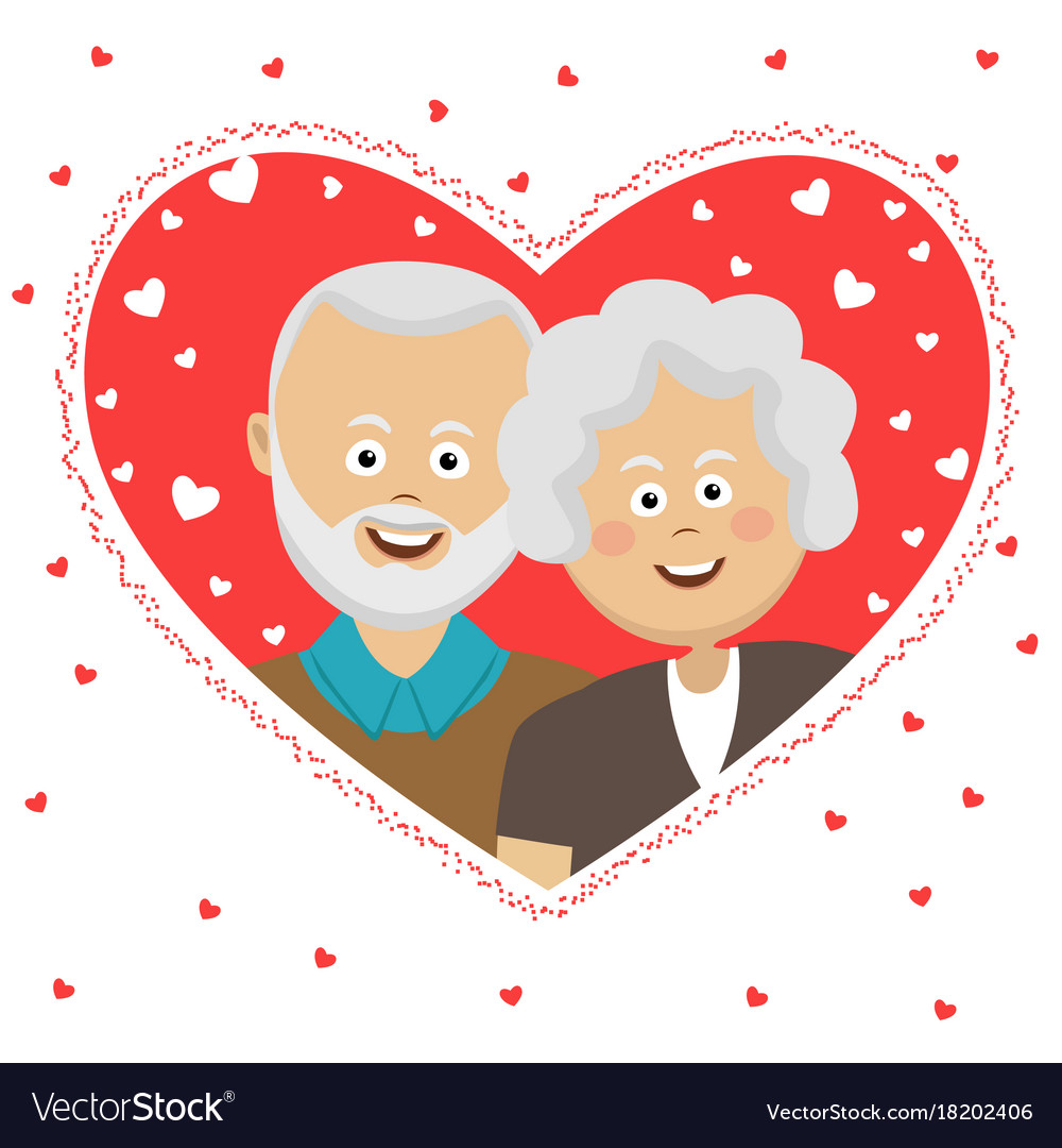 Happy elderly couple behind heart shaped frame Vector Image