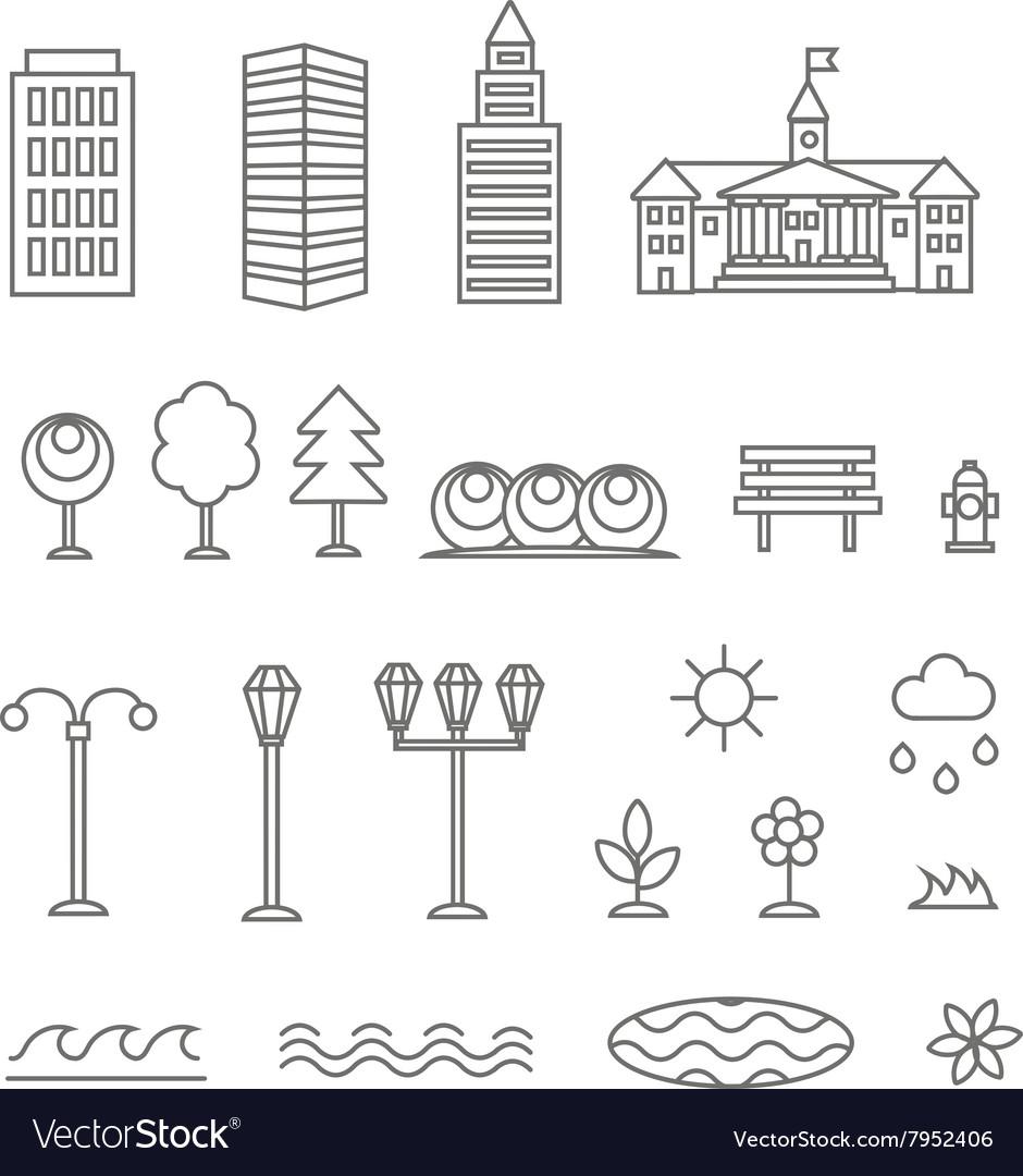 Linear landscape elements icons set Line