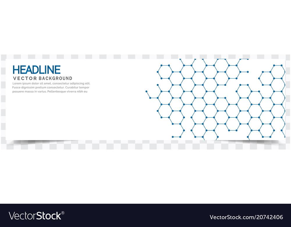 Modern blue honeycomb white background headline ve vector image