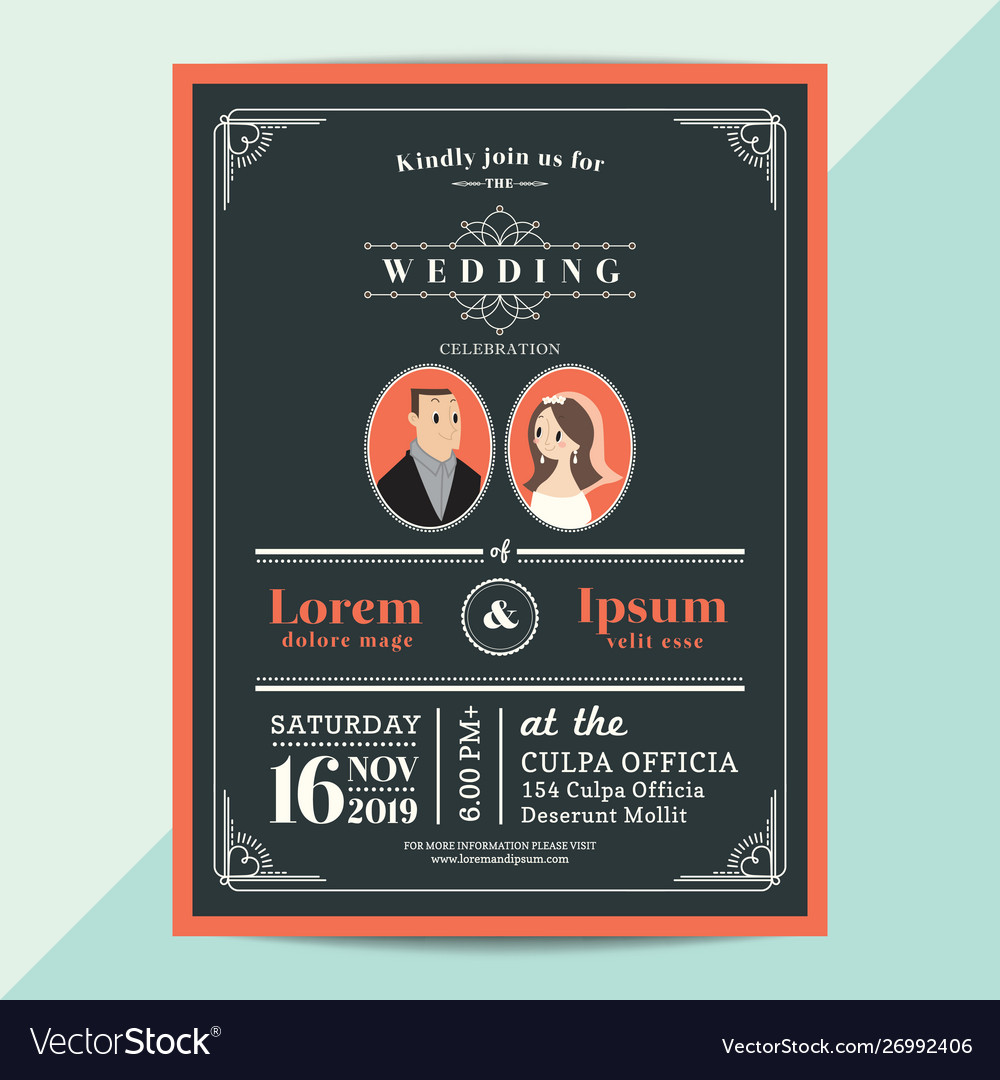 Modern vintage wedding invitation card vector