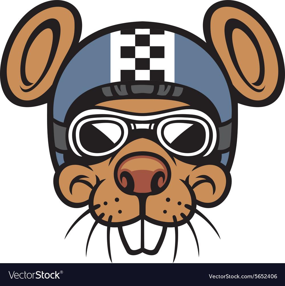 Mouse head rider mascot vector image