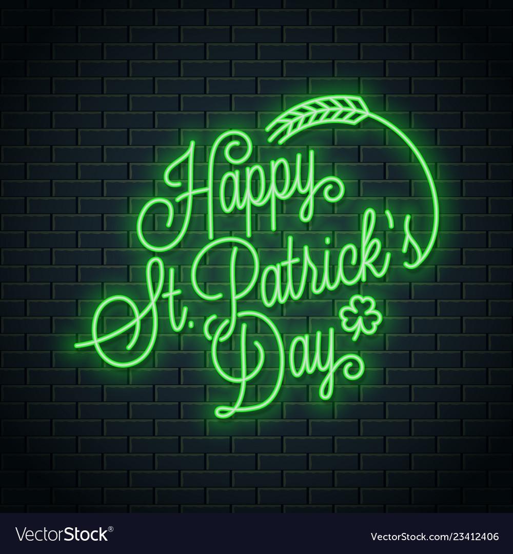 Patrick day neon lettering happy patricks day