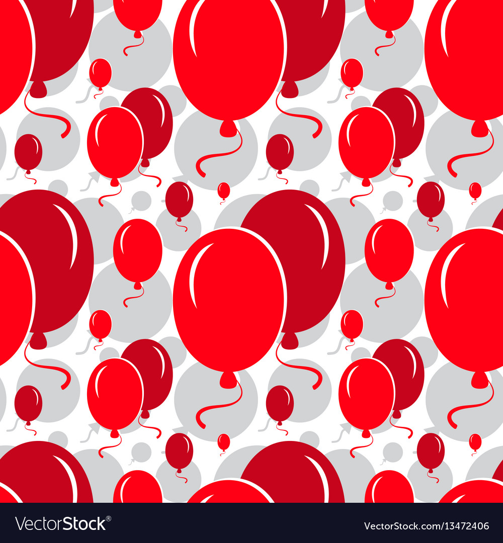 Red party balloon pattern on white background