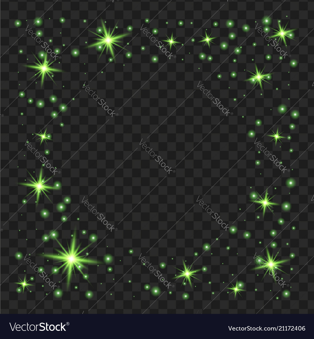 Round green glow light effect stars bursts with