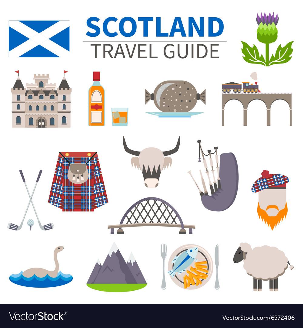 Scotland Travel Icons Set vector image