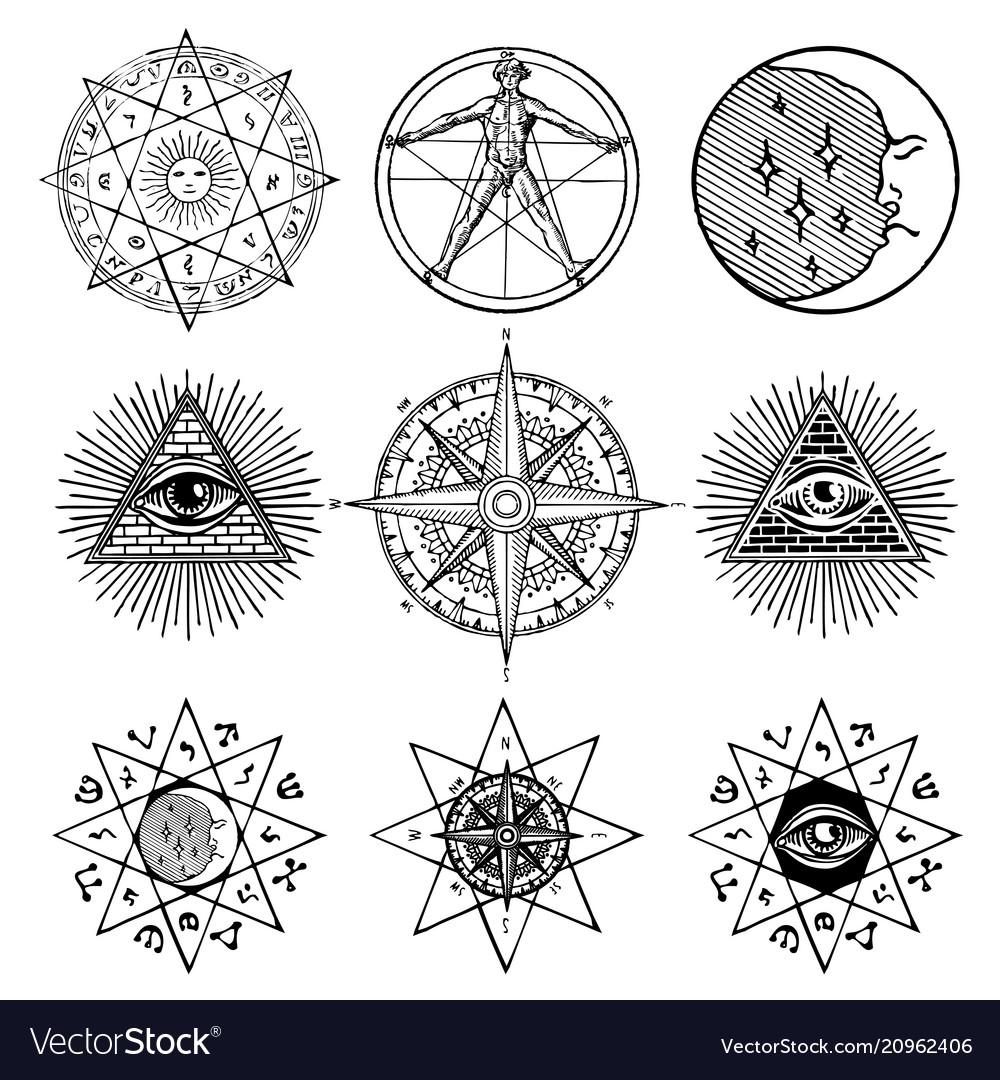 Set of icons on theme of magic esoteric masons