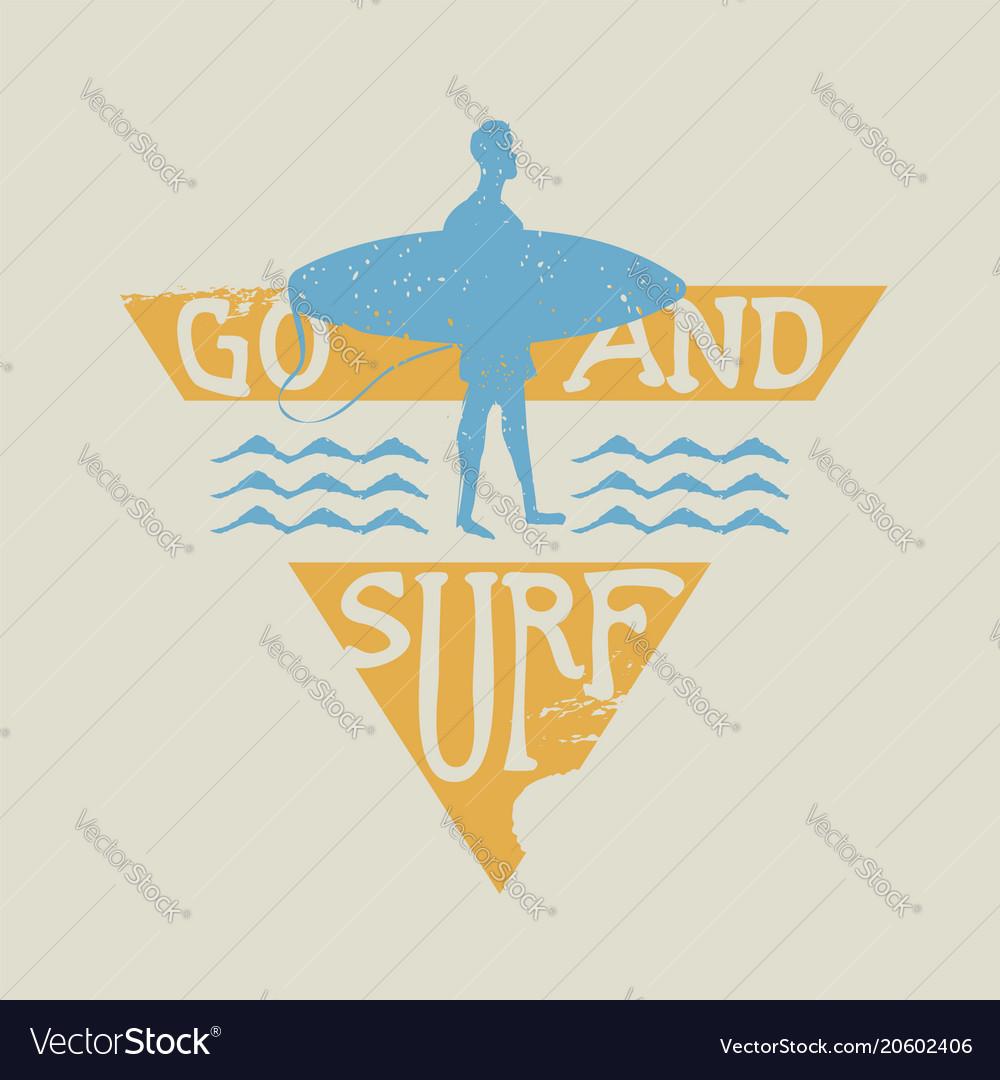 Surfer man with surfboard vintage label stamp