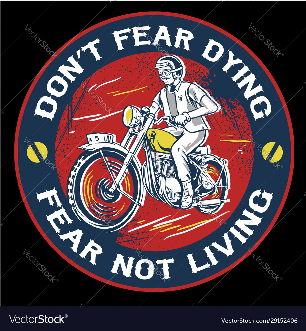Vintage man riding motorcycle emblem