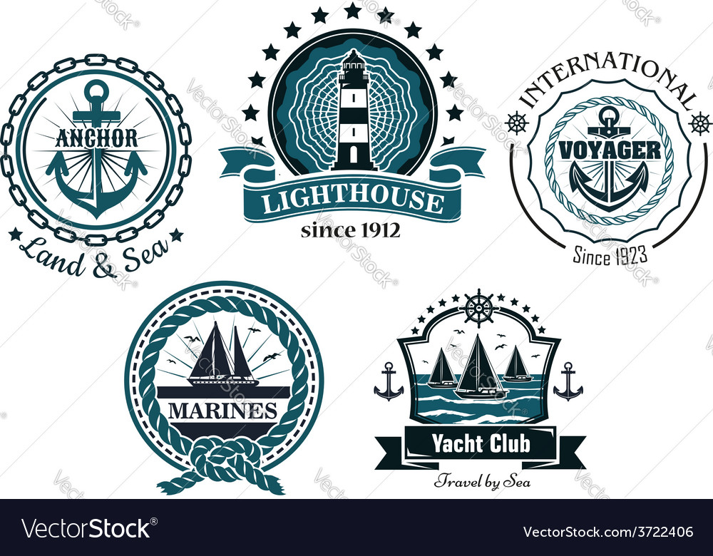 Vintage marine in blue and white emblems and vector image