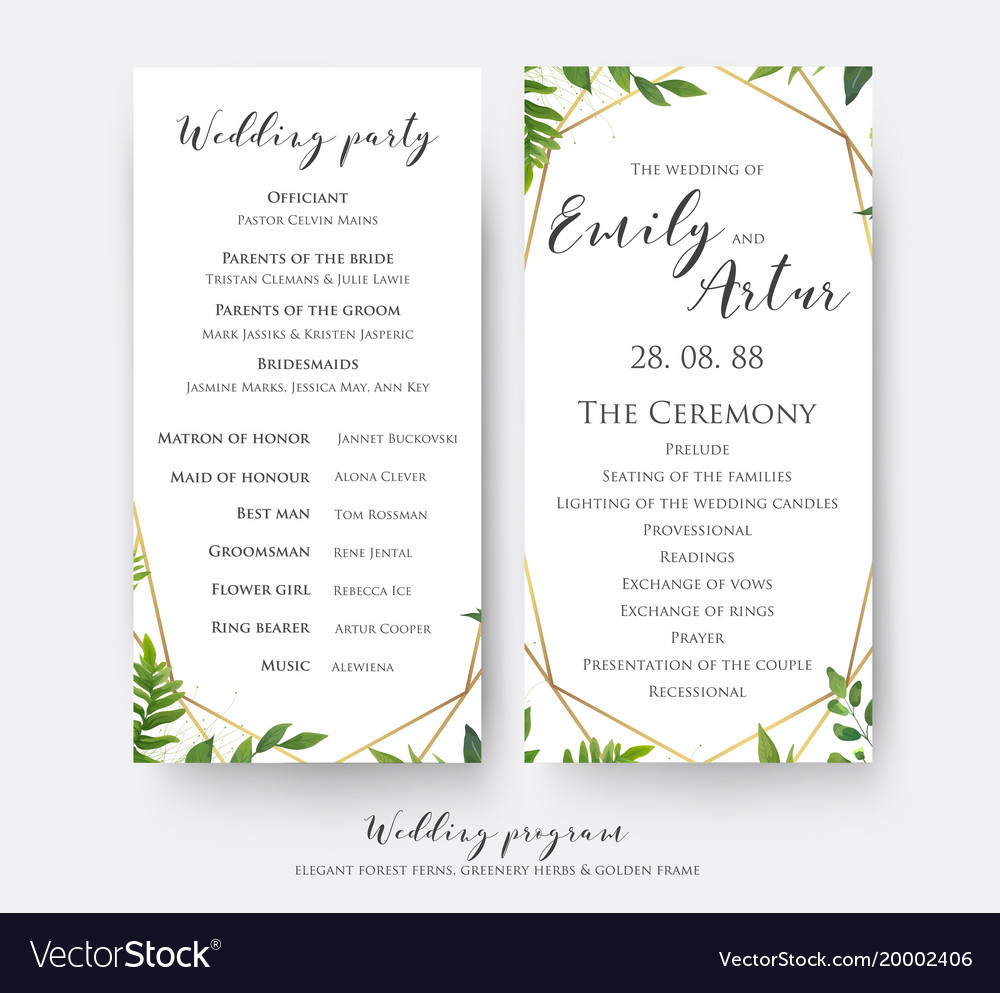 Party Program Card Design Vector Image
