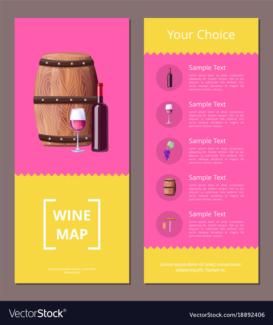 Wine map and your choice advantages poster icons Vector Image Choice Map on