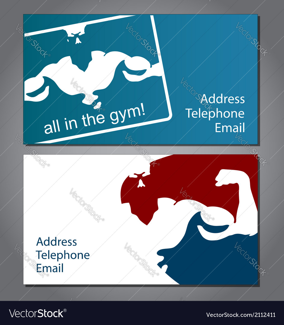 Business card for gym Royalty Free Vector Image