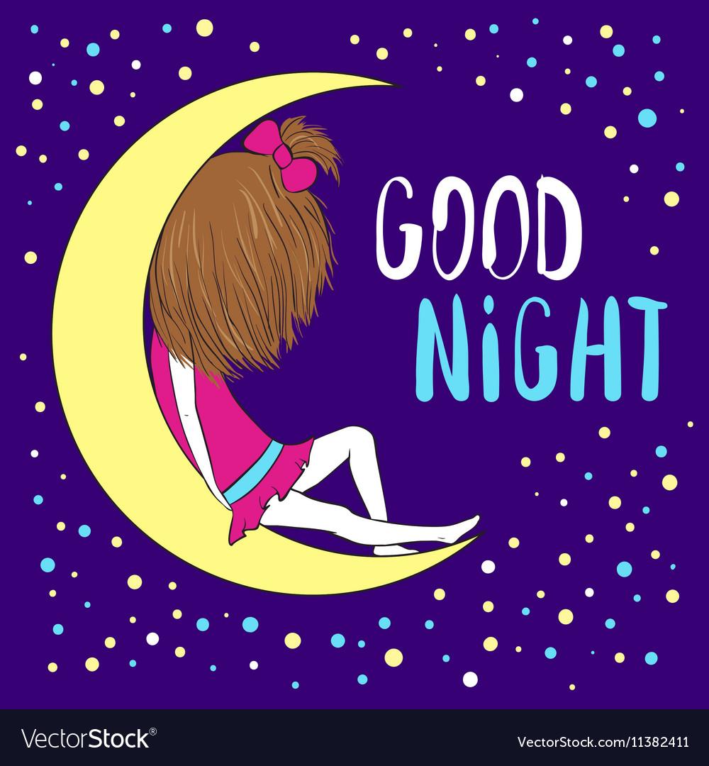 Good Night Greeting Card Royalty Free Vector Image