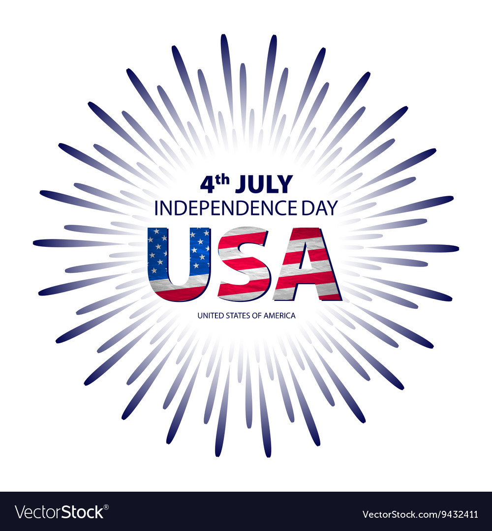 Happy 4th July independence day with fireworks vector image