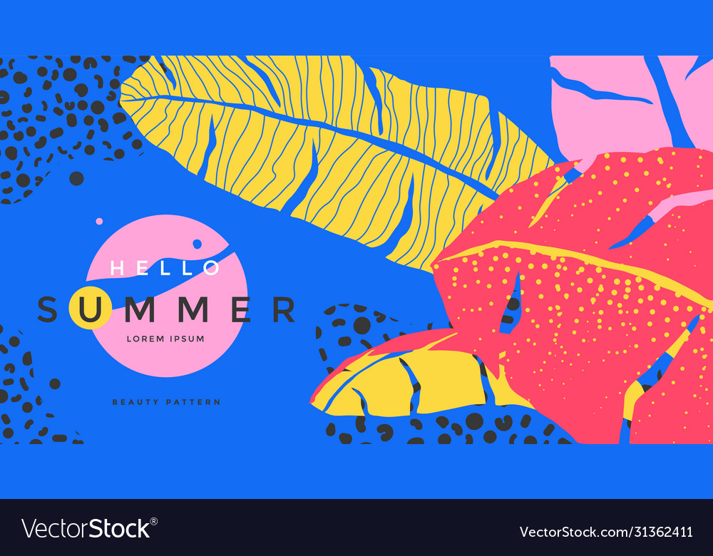 Hello summer poster with stylized tropical leaves