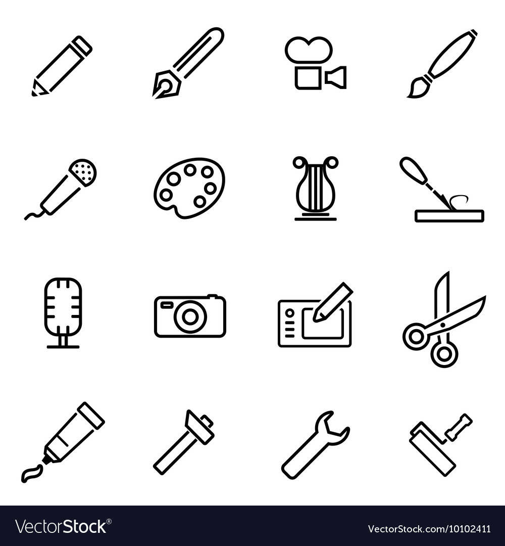 Line art tool icon set
