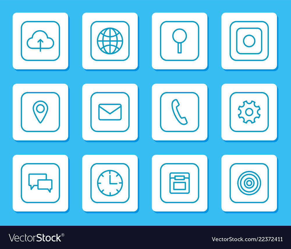 Minimalistic linear icons for mobile devices set