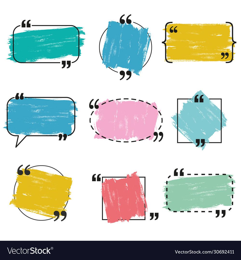 Painted grunge quote and speech bubble templates