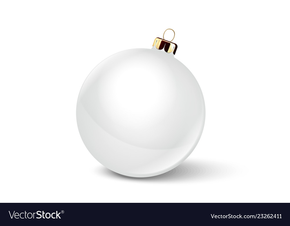 Realistic 3d white christmas glossy glass