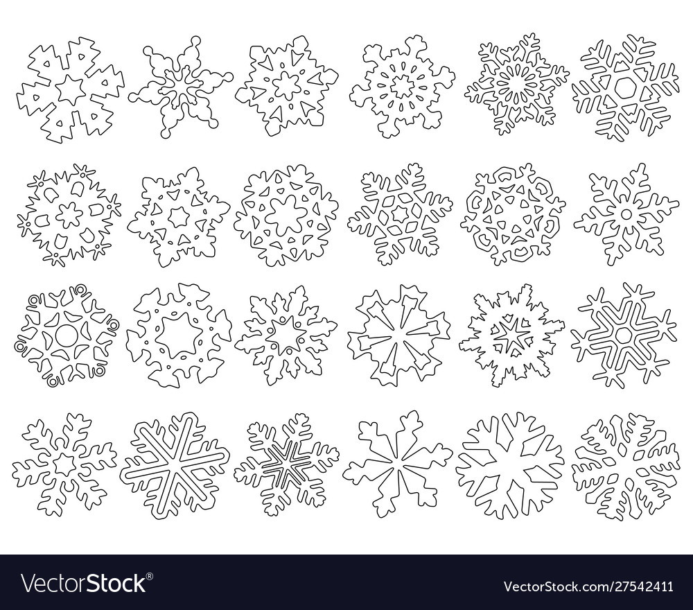 Set abstract snowflakes