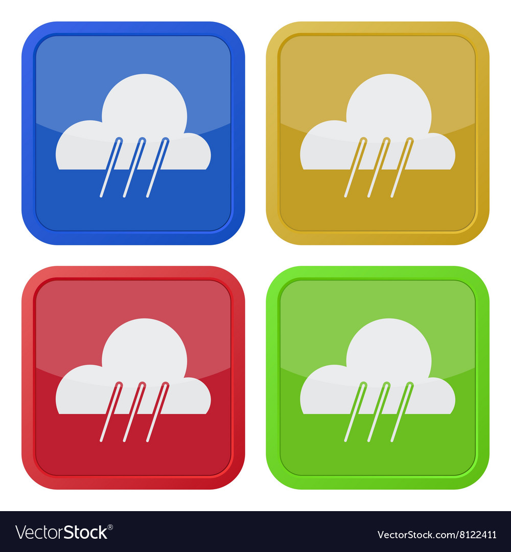 Set of four square icons with rain vector image