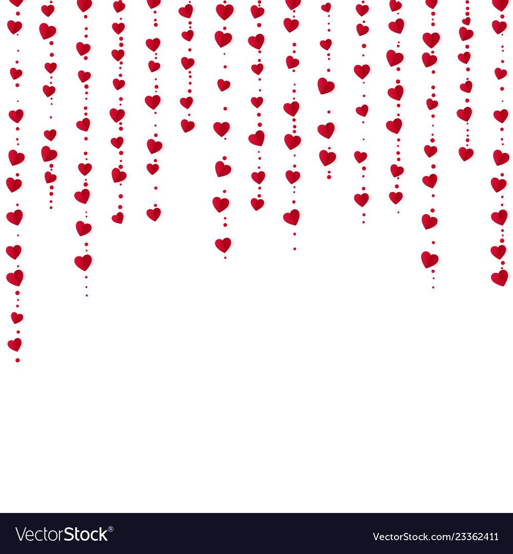 Vertical red heart garlands valentines day