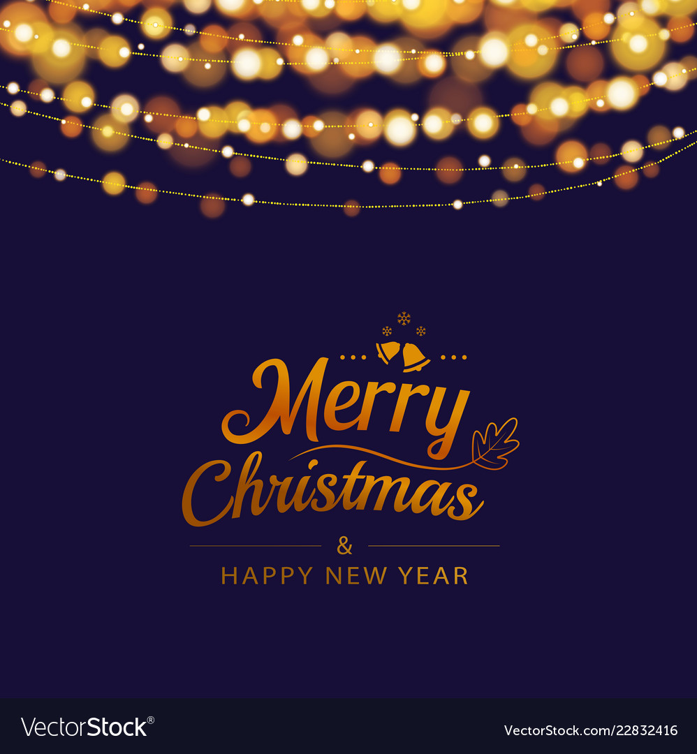 Christmas greeting card with bokeh lights and