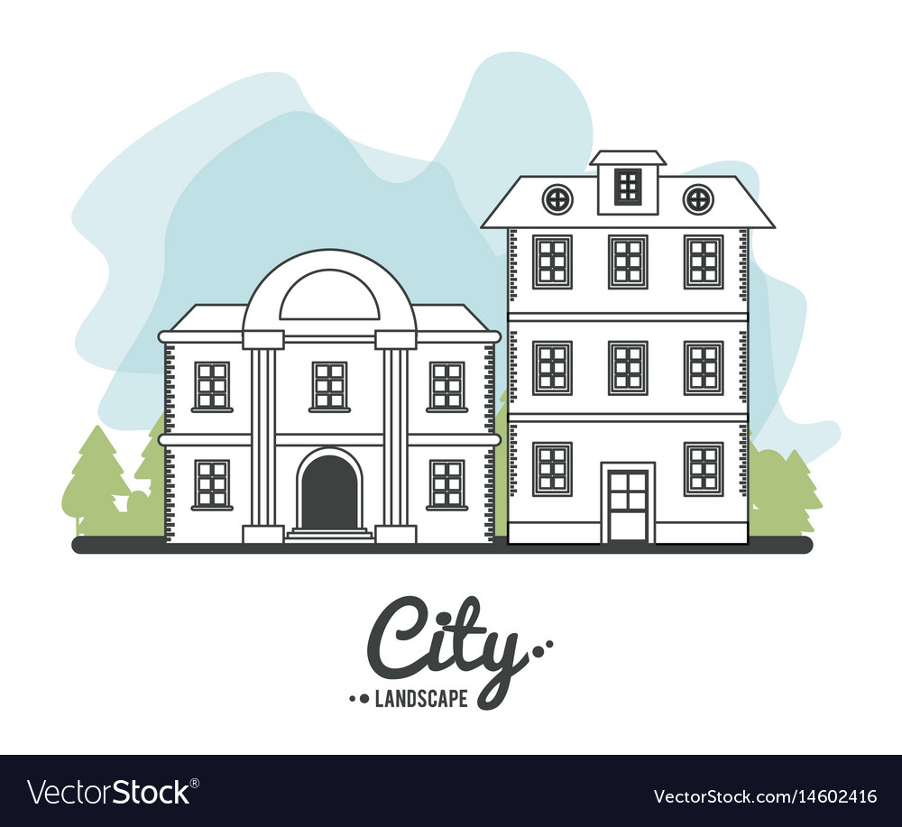 City landscape bank and classic house story line