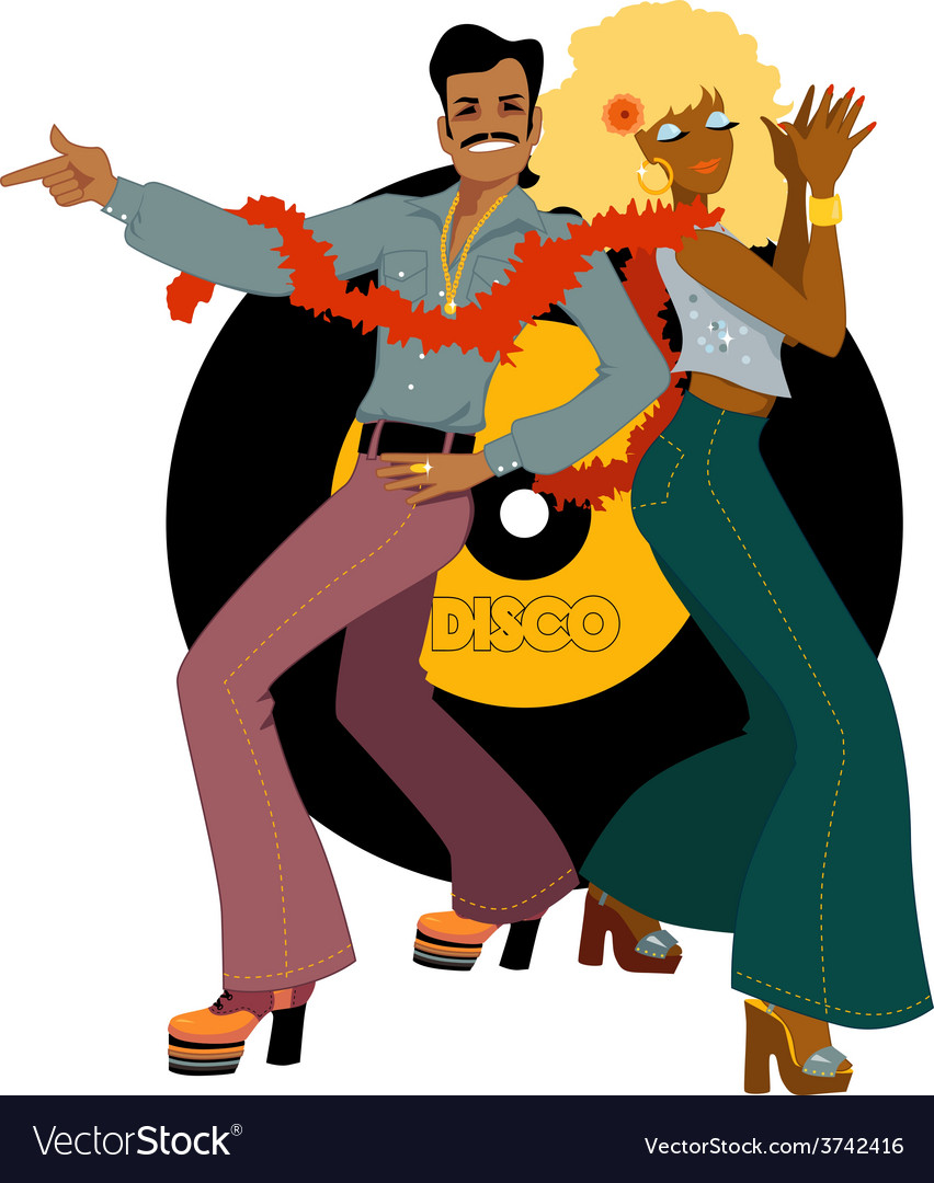 Disco dancers back to back