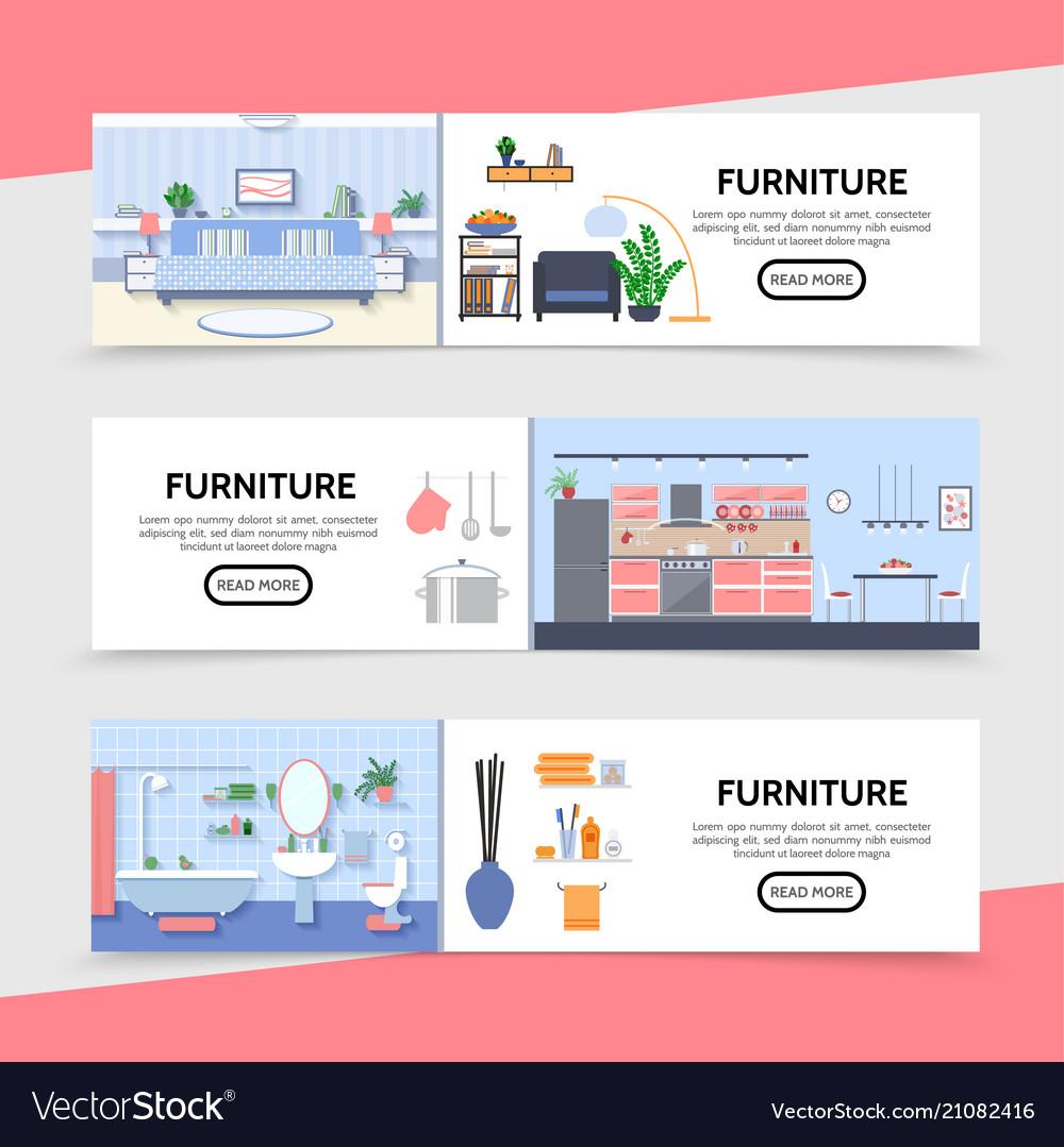 Flat furniture horizontal banners