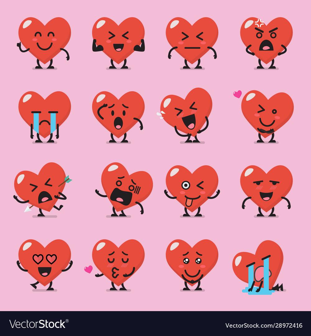 Heart character emoji set