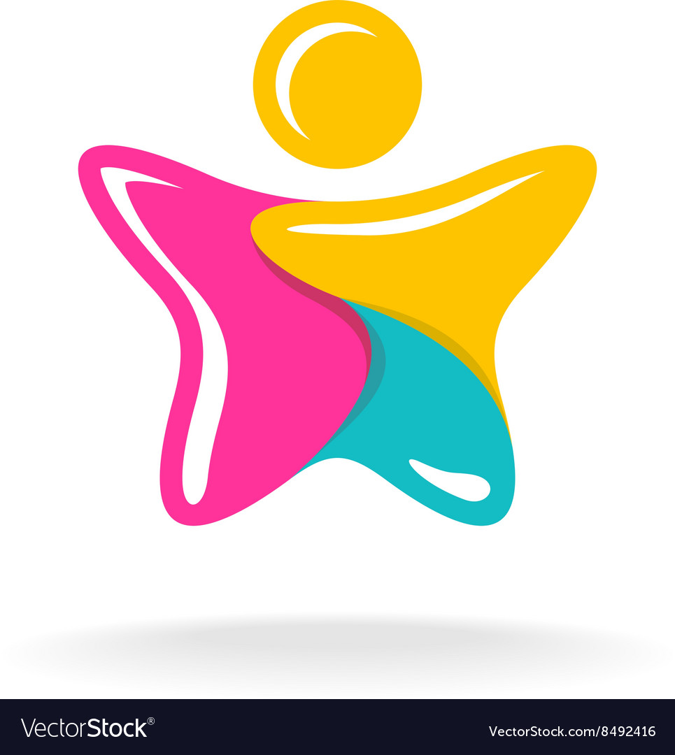 Man in a star shape colorful logo Color parts with