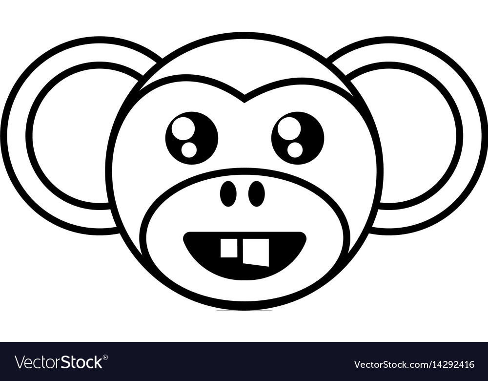 Monkey face animal outline