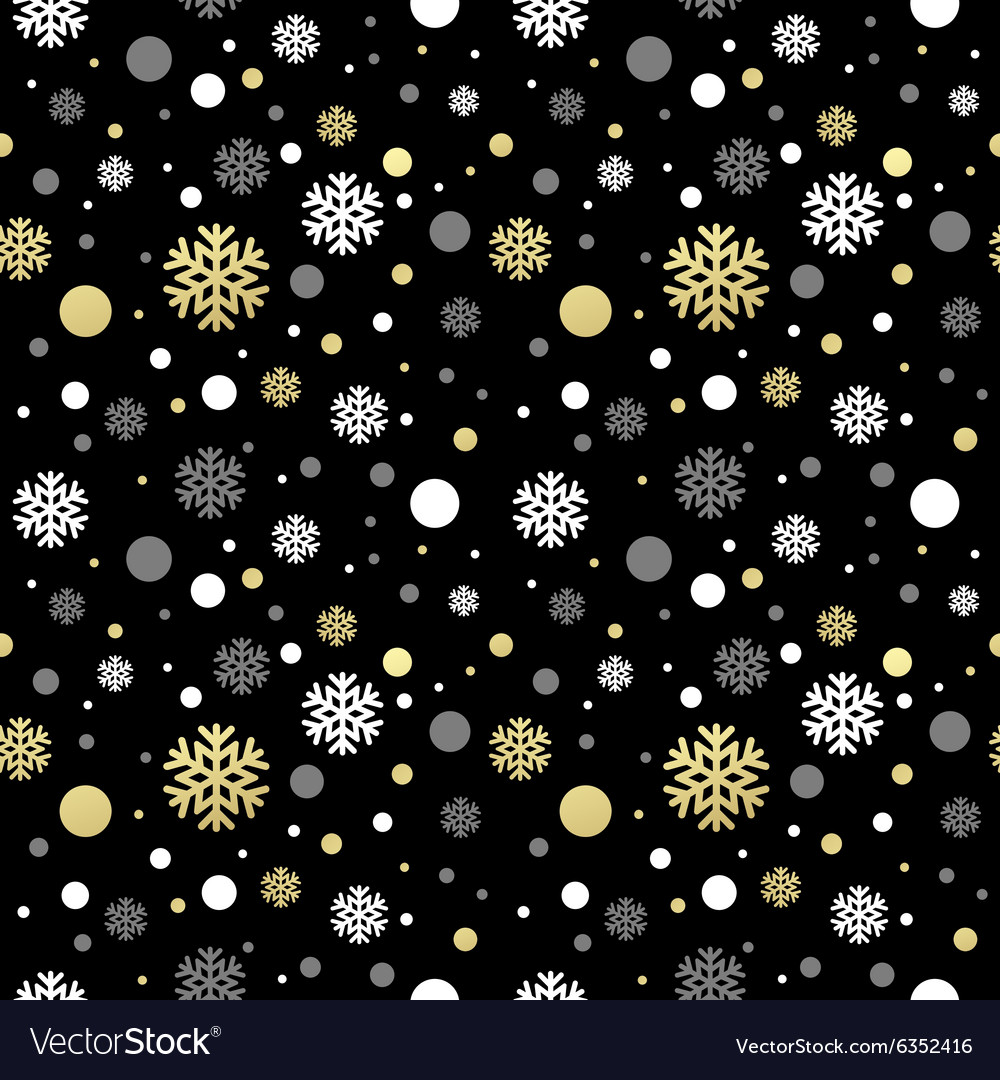 Seamless Black Christmas Wallpaper With White And Vector Image