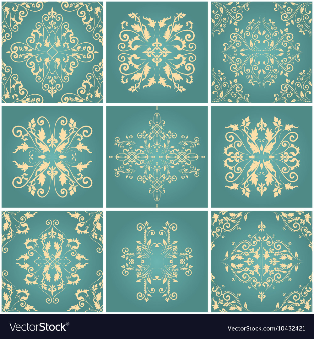 Abstract damask patterns set