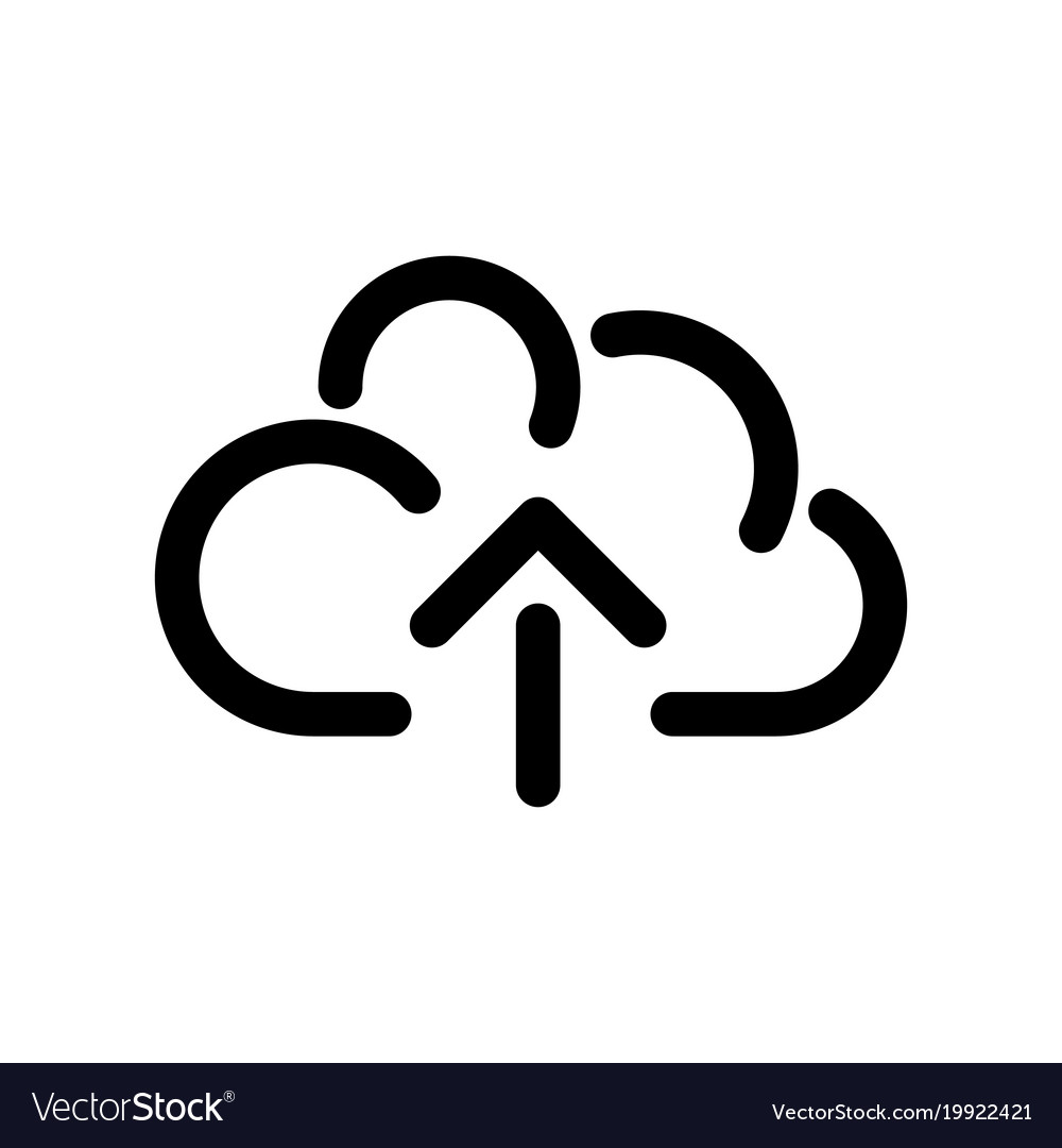 Cloud icon symbol of online storage with arrow as vector image