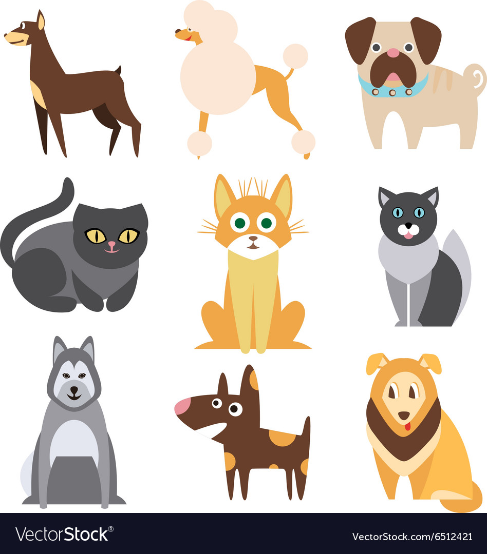 Collection of Cats and Dogs Different Breeds Flat