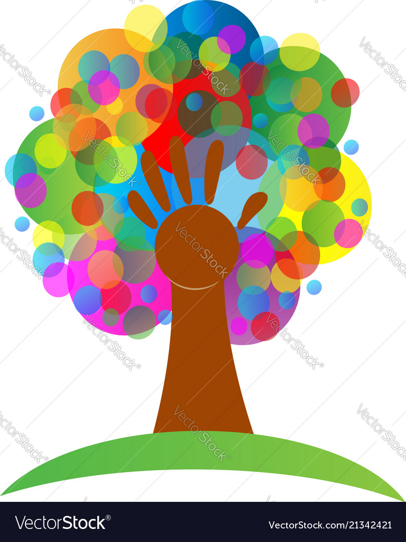 Colorful tree and hand abstract symbol