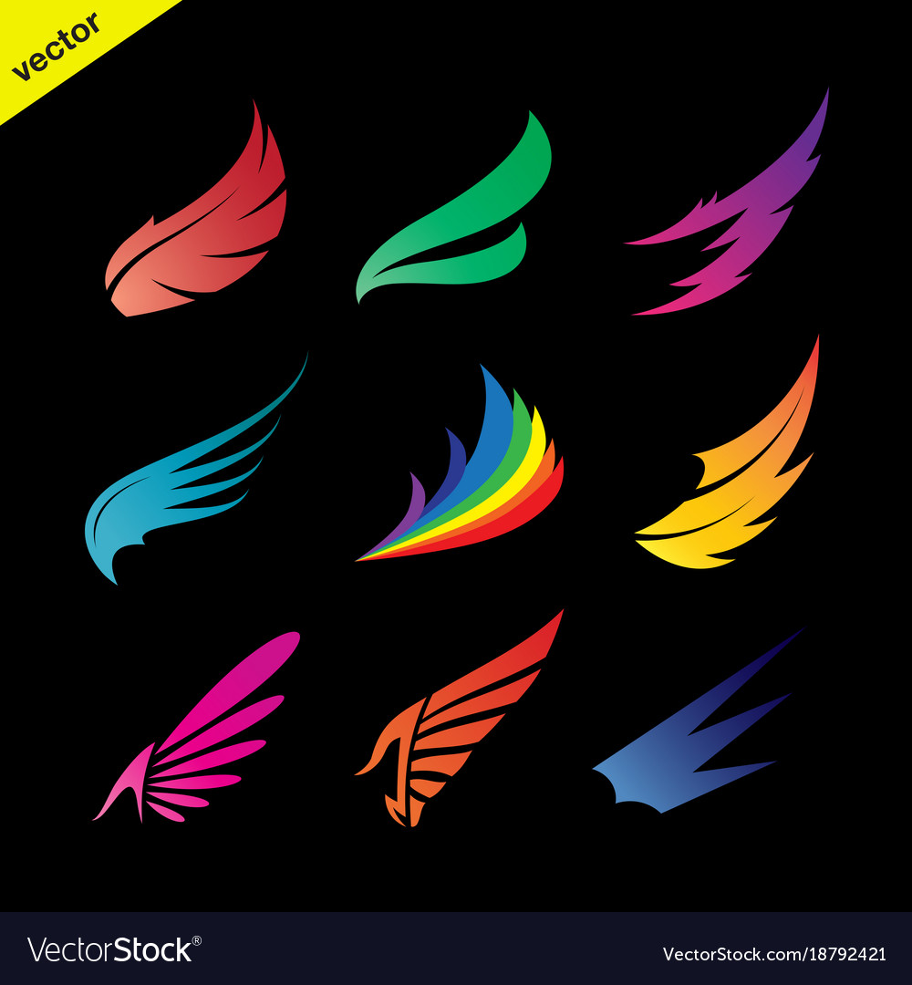Colorful wing icons set on black background