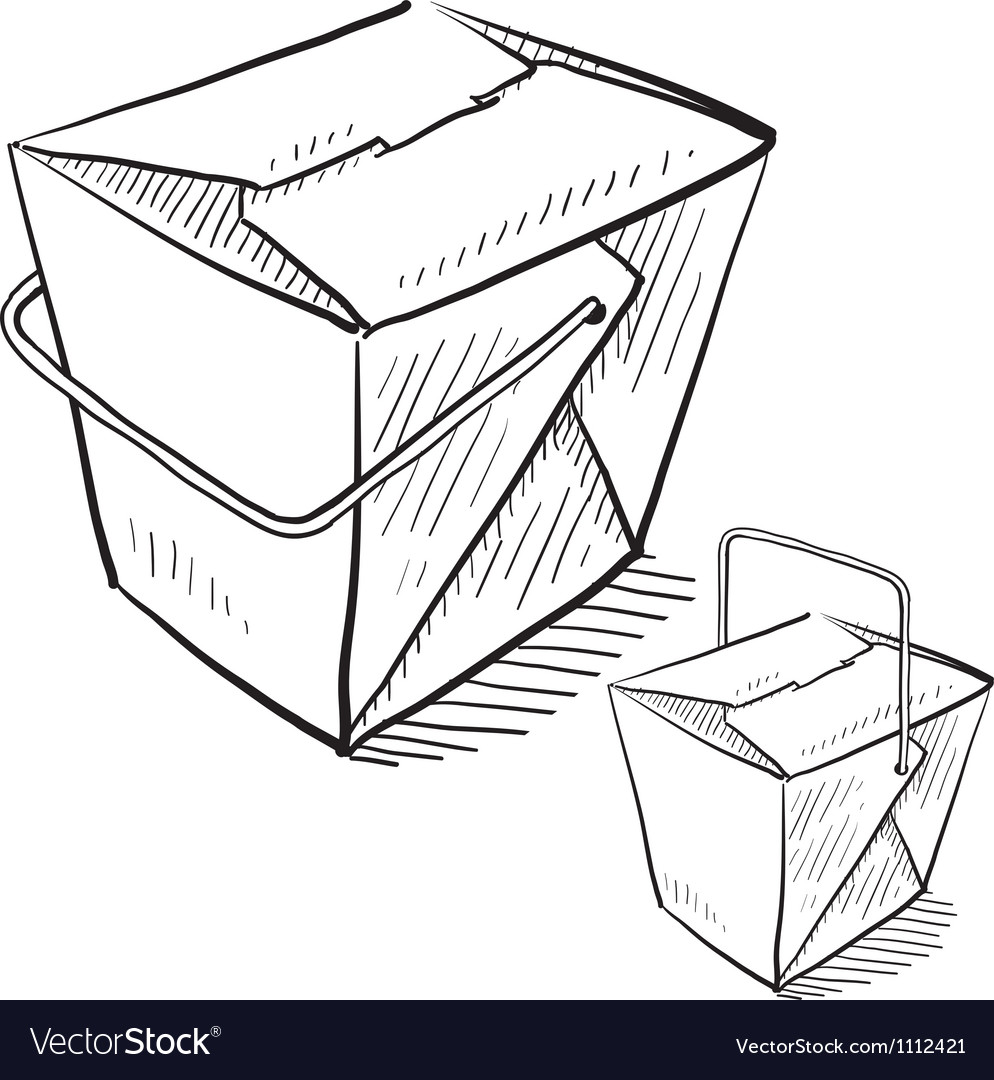 Doodle chinese takeout box vector image